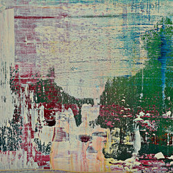 "modern abstraction #90-2244, 24x32 - ""Modern Abstractions"", combines Spencer Rogers' photography and painting. They are macro photographs of small sections of his large paintings that are printed behind museum grade plexiglass acrylic, with polished edge, to create a stunning modern look. These have been a designer's dream as you can order them in multiple sizes. Only 25 of each image will be sold, which creates a lot of appeal to collectors and helps keep these works of art as unique as the original paintings. The finished piece in the sample photo is 48x64"