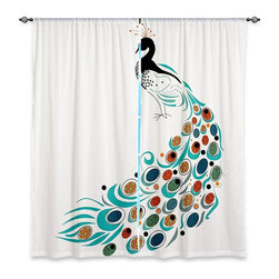 "DiaNoche Designs - Window Curtains Unlined - Marci Cheary Peacock II - DiaNoche Designs works with artists from around the world to print their stunning works to many unique home decor items.  Purchasing window curtains just got easier and better! Create a designer look to any of your living spaces with our decorative and unique ""Unlined Window Curtains."" Perfect for the living room, dining room or bedroom, these artistic curtains are an easy and inexpensive way to add color and style when decorating your home.  The art is printed to a polyester fabric that softly filters outside light and creates a privacy barrier.  Watch the art brighten in the sunlight!  Each package includes two easy-to-hang, 3 inch diameter pole-pocket curtain panels.  The width listed is the total measurement of the two panels.  Curtain rod sold separately. Easy care, machine wash cold, tumble dry low, iron low if needed.  Printed in the USA."