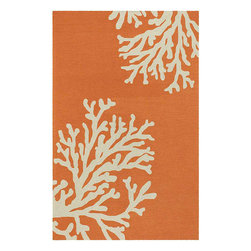 Hand Hooked Orange Area Rug - Fresh orange is so hot this year. This rug would look so gorgeous in the right room. Mix with blues, or keep the room in shades of orange with lots of white.
