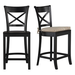 Vintner Black Bar Stool and Latte Stripe Cushion -
