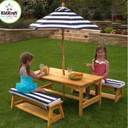 KidKraft - Kids' 4 Piece Table and Chair Set - Our Outdoor Table and Bench Set with Cushions & Umbrella is perfect for eating meals, playing games, working on homework and more. This outdoor furniture set is perfect for the summer months and will look great on any patio. Features: -Made of weather-resistant wood.-Matching canopy and bench cushions.-Convenient storage below each bench.-Tall umbrella helps shield children from UV lights.-Makes a great gift idea for families with multiple children.-Smart and sturdy construction.-Color: Honey, Blue and White.-Distressed: No.Dimensions: -Overall Product Weight: 44 lbs.