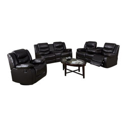 """Acme - 3-Piece Torrance Motion Espresso Bonded Leather Match Upholstered Sofa - 3-Piece Torrance motion espresso bonded leather match upholstered sofa with drop down arm, love seat with console and recliner with recliner ends. This set includes the sofa with a drop down arm tray on the center cushion, love seat with a center console with cup holders and dual gliders and single recliner with an espresso bonded leather match upholstery with reclining seats on the recliner, love seat and sofa with overstuffed arm rests. sofa measures 85"""" x 37"""" x 39"""" H. love seat measures 76"""" x 37"""" x 39"""" H. Single recliner measures 38"""" x 37"""" x 39"""" H, Some assembly may be required."""