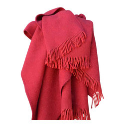 "Happy Blanket - 100% Wool Blanket Throw 51""  x 79"", Red - Wool is a natural temperature regulator, naturally hypoallergenic, naturally breathable and even improves sleep quality."