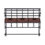 Holly & Martin - Holly & Martin Olivia Wall-Mount Craft Storage Rack w/ Baskets-Black - This wall mount craft storage rack with baskets is the best way to get your workspace clean and your crafting supplies organized. With three espresso rattan woven baskets to put your tools out of sight and a spacious shelf to organize all your boxes and bows, you'll never have a messy workspace again. This unit is the perfect solution for any home.