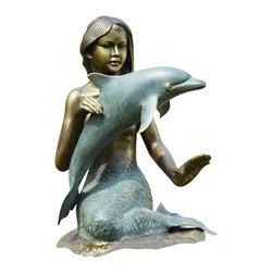 """SPI - Mermaid & Dolphin Garden Sculpture - -Size: 26.5"""" H x 20"""" W x 17"""" D"""