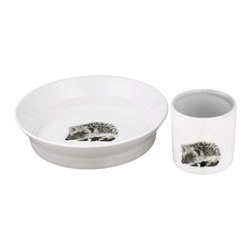 By Nord Copenhagen - Kids Cup and Bowl Set, Soft Grey - You can't sting yourself on this meal! Let the small ones - girls or boys - enjoy their meal with this kids tableware set with a cute hedgehog printed on and in soft grey and white colors.