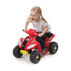 Fun Wheels - Fun Wheels Step-2 Mini Quad Battery Powered Riding Toy - Red - 05RS2 - Shop for Tricycles and Riding Toys from Hayneedle.com! You know what's better than walking? Driving. Get little ones their own wheels with a Fun Wheels Step-2 Mini Quad Battery Powered Riding Toy Red. This little ATV has a little go button on the handlebars that moves it forward at a safe 1.5 mph. Powered by a rechargeable 6-volt battery. Playtime: 1-2 hours.