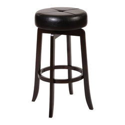 """Hillsdale - Hillsdale Rhodes 30"""" Backless Bar Stool in Walnut - Hillsdale - Bar Stools - 5095830 - Simple and understated the Rhodes Backless Stool is an accommodating partner for any design aesthetic. Constructed of solid hardwood in a rich walnut finish the Rhodes is a sturdy classic featuring a 360 degree swivel stool. The seat is covered in black vinyl that shows off its segmented design.  Some assembly required."""