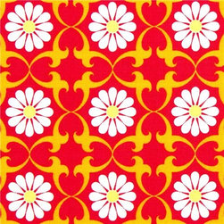 red organic fabric flower daisy by Robert Kaufman - Organic Fabric with Daisies