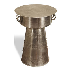 Kathy Kuo Home - Antimo Hammered Iron Small Industrial Drum Table - Like a treasured find from an overseas archaeological dig, this shining side table invokes a sense of history. The pattern hammered into its iron base and its curved handles add intrigue to your industrial loft or contemporary home. Just be prepared that friends will ask if this piece is on loan from the museum of Roman antiquities.