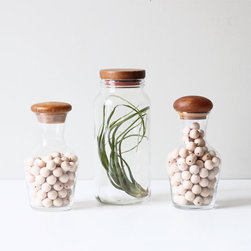 Vintage Teak Top Canister Set by AMradio - I love this pretty set of three vintage teak-top canisters from AMradio on Etsy. They'd look equally as good storing odds and ends in an office or studio as they would storing food in the kitchen.