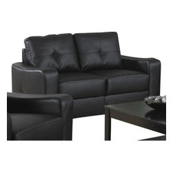 Coaster - Love Seat (Black) By Coaster - The Jasmine Rich Black Bonded Leather Loveseat - Coaster Co. will make a wonderful addition to your living room or den. Choose vivid rich black bonded leather to complete the look of this loveseat. A stitched design adorns the outsides of the square track arms. It is in stock and we will give it to you with no extra charges. Brought to you by efurnitureshowroom com. Dimension: Jasmine Rich Black Bonded Leather Loveseat -- Coaster 502722 ( 33.75 x61.5 x33.5 )
