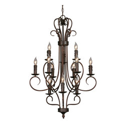 Golden Lighting - Centennial 3 Tier Chandelier, Candle - Night alight! This tiered chandelier's equipped with 12 sockets for plenty of stunning illumination. Sumptuous curves give it a timeless air that's topped off with an exquisite finial.