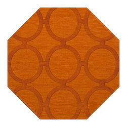 """Dalyn Rugs - Dalyn Rugs Dover DV14 Orange Rug DV14OR10OCT - """"Luxury"""", made in the USA. Stylish, tonal, geometric and floral designs. Textural cut and loop pile. 100% premium wool."""