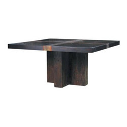 Santos Dining Table by Environment Furniture - The play between the cross on top, the base, and the square tabletop on this dining table are fascinating: You'll never want to cover this dining table up with a tablecloth!