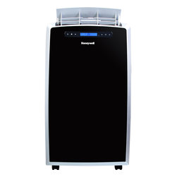 HONAC - 14,000 BTU Portable A/C - The Honeywell MM14CCS 14,000 BTU Portable Air Conditioner has a sleek, modern design cooling and dehumidifying areas up to 550 square feet. With 3-in-1 technology, 3M electrostatic filter and an environmentally friendly compressor, this portable air conditioner delivers optimum cooling and dehumidification. It also has a fan-only function. The full-function remote control allows you to operate each feature from across the room. Unlike a fixed AC, this unit requires no permanent installation and four caster wheels provide easy mobility between areas. Plus, the auto-evaporation system allows for hours of continuous operation with no water to drain or no bucket to empty. This model comes with everything needed including a flexible exhaust hose and an easy-to-install window venting kit. The window vent can be removed when the unit is not in use.14,000 BTU portable air conditioner cools areas up to 550 sq. ft.|No bucket, no-drip design uses auto-evaporation system|Dehumidification up to 95 pints per 24 hours|Digital LCD display with feather touch controls|Full function remote control|Automatic shutoff timer from 1-24 hours|Powerful air flow (265 cfm)|Quiet operation (54 dbA)|Washable, pull-up 3M electrostatic filter (back access)|Caster wheels easily rolls unit from room to room|  honeywell| mm| series| mm14ccs| cooling| portable| no| bucket| air| conditioner| ac| a/c| with| remote| control| eco-friendly| eco| friendly| 410a| re  Package Contents: air conditioner|remote control|flexible exhaust hose|window venting kit|manual|warranty  This item cannot be shipped to APO/FPO addresses