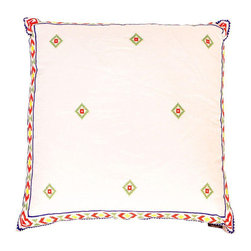 White & Red Mexican Embroidered Throw Pillow - Dimensions 20.0ʺW × 6.0ʺD × 20.0ʺH