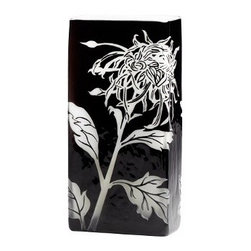 Black and White Wild Dandelion Design Modern Vase- Medium - *Medium Wild Dandelion Vase