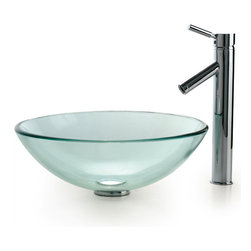 Kraus - Kraus C-GV-101-12mm-1002CH Clear Glass Vessel Sink and Sheven Faucet - Add a touch of elegance to your bathroom with a glass sink combo from Kraus