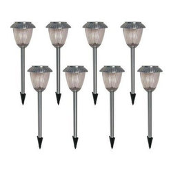 Malibu Lighting - 8-Piece Nickel Solar Light Set - Cast aluminum construction with brushed nickel finish and ribbed glass lens.