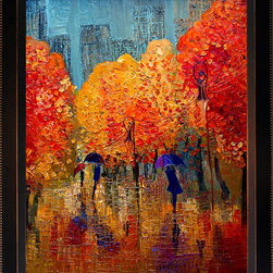overstockArt.com - Kopania - Autumn Oil Painting - Autumn is a beautiful image of trees and landscape during fall when nature changes its colors from green to red, yellow and brown. This canvas print will bring colors and beauty to every room. Justyna Kopania is from Warszawa, Poland. In her words when she paints she tries to show the 'world', which could be seen by looking at reality that surrounds us, from another perspective, unusual, remote, sometimes through the eyes of the child, sometimes music, composer, or someone who looks lichen on the sea, the moon , the sky and the stars ..., the river ... looks out the window and looks out into the street. Walking down the street looking at people's faces. In rain, snow or fog. Perhaps the world that surrounds us really is quite different than we perceive it every day.