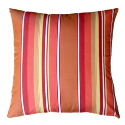 Pillow Decor - Pillow Decor - Sunbrella Dolce Mango 20 x 20 Outdoor Pillow - Rich and vibrant Sunbrella outdoor fabric. Dolce Mango Features: vertical stripes in shades of red, orange and salmon. Add a splash of juicy color to your outdoor furniture with these gorgeous pillows. Paired with the rectangular striped version, it really adds punch! The Dolce Mango fabric coordinates beautifully with Sunbrella's Canvas Melon, Tangerine, and Buttercup Yellow.