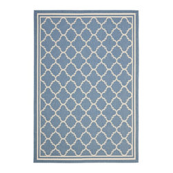 "Safavieh - Courtyard Blue/Brown Area Rug CY6918-243 - 6'7"" x 6'7"" Round - Safavieh takes classic beauty outside of the home with the launch of their Courtyard Collection. Made in Belgium with enhanced polypropylene for extra durability, these rugs are suitable for anywhere inside or outside of the house. To achieve more intricate and elaborate details in the designs, Safavieh used a specially-developed sisal weave."