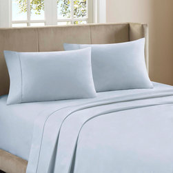 "Premier Comfort - Premier Comfort Supreme Luxury 800TC Sheet Set - Premier Comfort presents the Supreme Luxury sheet set, which is just that, truly luxurious. Lounge around in this 800 thread count sheet set, made from 100% cotton sateen for an incredibly soft feel. Flat and fitted sheet as well as pillowcases have a filled piping on the hemming for extra detailing while fitted sheet has a 15"" pocket size and fits mattresses up to 17"". This luxurious sheet set come in three beautiful colors of ivory, blue, and mocha. 800TC cotton sateen sheet set"