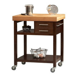 Linon Butcher Block Top Espresso Work Island