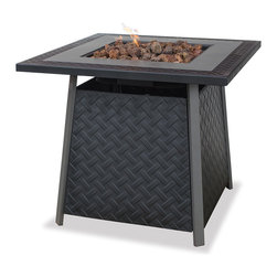 Blue Rhino - Uniflame Lattice LP Gas Firepit - Keep any outdoor space cozy with this bold black lattice gas fire pit with lava rocks. This stand-alone pit features a steel mantle and bowl and is easy to assemble.