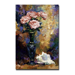 Trademark Art - Roses & a Seashell by Yelena Lamm Impressioni - Gallery Wrapped Giclee Canvas Art. Ready to Hang. Artist: Yelena Lamm . Title: Roses and a Seashell. Style: Contemporary. Format: Vertical. Size: Large. Subject: Still Life. Giclee on Canvas. Frame: 24 in. W x 1.5 in. D x 32 in. HYelena Lamm was born in Petersburg, Russia. She first began drawing in preschool, where her art teachers discovered that she had a very special talent. After secondary school, Yelena went off to study Fine Art & Restoration at Roerich College in Russia. Here she spent years restoring some of the most famous works of art from Museum Masters. In the early 90's Yelena decided to come to America, later settling in Andy Warhol's home town of Pittsburgh Pennsylvania. Here she attended the highly acclaimed Art Institute of PA. Here she received a Bachelor's Degree of Science in Graphic Design and a President's Award from the Institute. Yelena's career has emerged tremendously, and her art is part of the community.Giclee (jee-clay) is an advanced print making process for creating high quality fine art reproductions. The attainable excellence that Giclee printmaking affords makes the reproduction virtually indistinguishable from the original artwork. The result is wide acceptance of Giclee by galleries, museums, and private collectors.