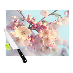 """Kess InHouse - Sylvia Cook """"Waiting for Spring"""" Pink Blue Cutting Board (11"""" x 7.5"""") - These sturdy tempered glass cutting boards will make everything you chop look like a Dutch painting. Perfect the art of cooking with your KESS InHouse unique art cutting board. Go for patterns or painted, either way this non-skid, dishwasher safe cutting board is perfect for preparing any artistic dinner or serving. Cut, chop, serve or frame, all of these unique cutting boards are gorgeous."""