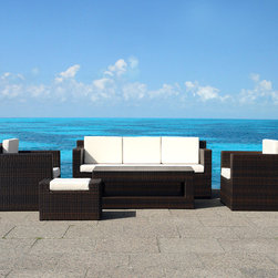 Outdoor Furniture - All-weather wicker conversation set, modern design - Roma by Beliani