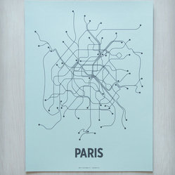 Paris Transit Screen Print, Light Blue