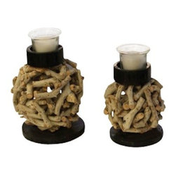 ParrotUncle - Tea Branch Ball Decorative Candle Holder Set of 2 - Add natural charm with this tea tree branch candle holder.Use to highlight a natural and organic rustic theme or use in your home decor to bring some of the outside in. Tree branch craft candle holder