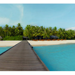 Murals Your Way - Sun Island Maldives Wall Art - This horizontal-format wall mural is tailor made for an area of your home or office where you want a panoramic view of a tropical paradise