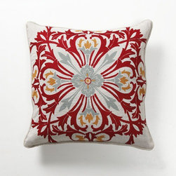 "Villa Home - Provence Rouge Tile Pillow - Features: -Color:. -Pillow cover material: 60% Cotton / 40% LIN. -Pillow insert material: 95% Feather / 5% down - 100% cotton cover. -Print and Embroidered front. -Dimensions: 18"" W x 18"" D, 1 lb."