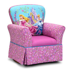 Disney Princess - Disney Princess Glow Within Skirted Rocker - Perfectly sized for little princesses, this rocker features a sturdy hardwood and metal frame, comfy padded exterior and fanciful upholstery that brings enchantment to any room.   Weight capacity: 75 lbs. 26'' W x 30'' H x 20'' D Wood / cotton / densified fibers / metal / plastic Made in the USA