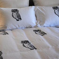 Owl Duvet Set - Hand Screen Printed Owl Duvet Set Queen or King