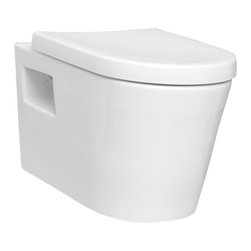 Vitra - Sleek Round White Ceramic Wall Toilet with Seat 5139-0075 - Showy white ceramic wall hung toilet for bathroom with included seat. Unique wall mounted bathroom toilet and seat is perfect for commercial or residential use. Toilet has a cistern capacity of 6. Requires Geberit concealed tank and carrier (ref. 111.335.00.5) and Geberit white or chrome sampa flush plate (ref. 115. 770.11.5, ref. 115.770.21.5). 6 liter wall hung toilet with toilet seat included. Actuator and tank must be purchased separately. Can be used for business or home bathrooms. Water-saving. Made from white finished ceramic. Requires Geberit tank and carrier, samba flush plate. Toilet seat is not soft closing. From Vitra's Matrix collection. Made in Turkey.