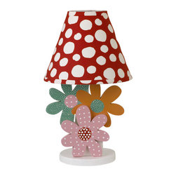 Cotton Tale Designs - Lizzie Decorator Lamp - A quality baby bedding set is essential in making your nursery warm and inviting. Cotton Tale uses quality materials and unique designs to create your perfect nursery. Part of the Lizzie collection, this decorator lamp has three wood cut daisies in pink, orange and turquoise, accompanied with a big red dot shade. Max bulb recommended is 40 watt. Lamp stands 15 inches tall. Spot clean only. The perfect touch for your little girls nursery. Coordinates with the Lizzie Baby Bedding Collection.
