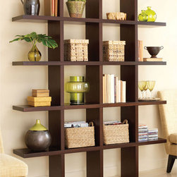 Tic Tac Toe Medium Bookcase in Java Brown - There's nothing more modern than a grid, and this simple grid of shelves fits right up against the wall, appearing to float. It can also serve as a modern room divider in a more open space.