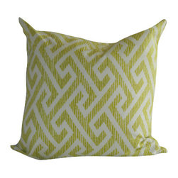 Lime Maze Pillow Cover - Lime + Ivory Maze, 12x22 inches