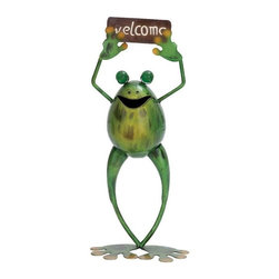 Ore International - Ore International Metal Frog Welcome Figurine Multicolor - 69380 - Shop for Statues and Sculptures from Hayneedle.com! The Ore International Metal Frog Welcome Figurine is a riveting if not a ribbiting way to say hello to home and garden guests. This playful statue is handcrafted from weather-resistant iron and individually hand painted in vibrant colors of green and brown. At a four-pound weight it s easy to carry but stands straight and stable on its large flat feet.About Ore International Inc.Ore International Inc. creates beautiful accent furniture lighting and gifts for the home. Their goal is to be the leading provider of innovative superior home products worldwide. Ore International is based in Santa Fe Springs California and has a Customer First attitude. Their products are designed to match modern and classic tastes and fit today's homes. From room dividers to lamps end tables to entertainment centers you'll discover quality craftsmanship at a fair price in all Ore International products.