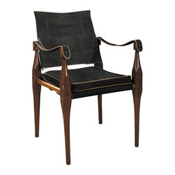 """Inviting Home - Rhoorkie Suede Chair - Black suede hide trimmed with natural leather piping hardwood maple brass hardware. 21-3/4 x 22 x 35""""H British Imperial officers on the move insisted on comfort after a long marching day. When camp was set up orderlies unpacked campaign boxes and assembled tents tables and chairs. The classic Rhoorkie named after the Indian town of manufacture was very popular. Comfortable and practical its slightly flexible build accommodated uneven ground surfaces. Level seating went with level headedness��_ Hand-made Rhoorkie chair features top quality black suede hide trimmed with natural leather piping and brass hardware. Instead of endangered teak hardwood maple was used for construction. This chair knocks down on demand and guaranteed to function anywhere everywhere for generations."""
