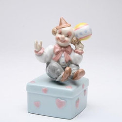 CG - 5 Inch Clown Spinning Ball on Finger Box with Hearts Figurine - This gorgeous 5 Inch Clown Spinning Ball on Finger Box with Hearts Figurine has the finest details and highest quality you will find anywhere! 5 Inch Clown Spinning Ball on Finger Box with Hearts Figurine is truly remarkable.