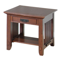 Jofran - Viejo Mission Style End Table w Drawer in Brown & Oak Finishes - Pierced hardware. Walnut bowtie inlays. One drawer and shelf. Solid Asian hardwood with oak and walnut veneer. Some assembly required. 26 in. W x 24 in. D x 24 in. H (44 lbs.).  Assembly instructions