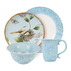 Fitz and Floyd Toulouse 4-Piece Dinnerware Set, Blue - I have a bit of a plate addiction and would love to add this set to my collection! That robin's-egg blue makes me smile.