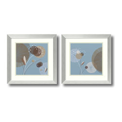 Amanti Art - Christina Mitchell 'Blue Breeze- set of 2' Framed Art Print 17 x 17-inch Each - The Blue Breeze set is a playful pair of floral abstracts with bold shapes and cool colors realized by artist Christina Mitchell.