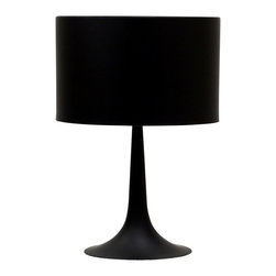 LexMod - Spun Style Table Lamp in Black - Discover rounded contours and minimalist lines with the sleek and contemporary Spun Style Table Lamp. Stay focused on precision as your room is recalibrated to the most inspired degrees of luminescence. Sustains your room's light while fading away sharp edges with a slender and versatile lamp true to its name.